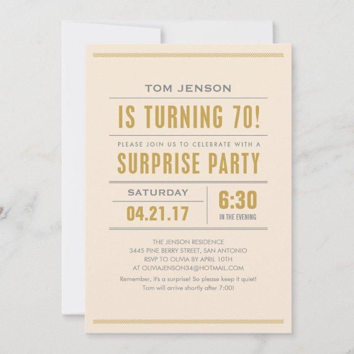 Big Type 70th Birthday Surprise Party Invitations Zazzle Com
