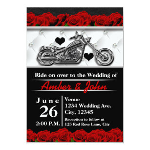 Biker Motorcycle Leather Rose Wedding Invitations