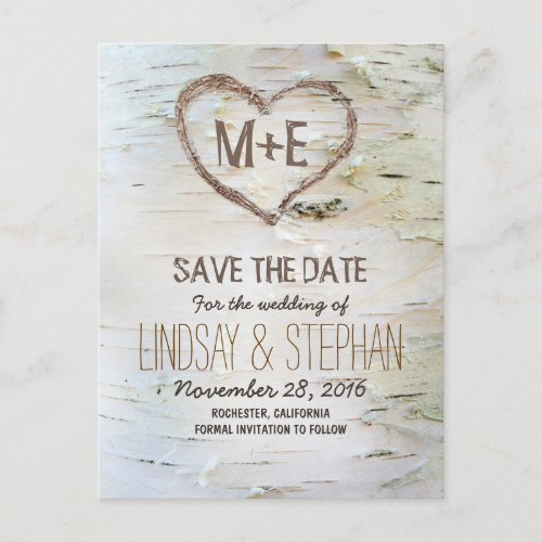 Birch bark rustic save the date postcards