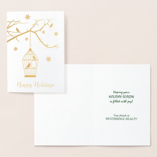 Bird Cage and Tree Corporate Christmas Foil Card