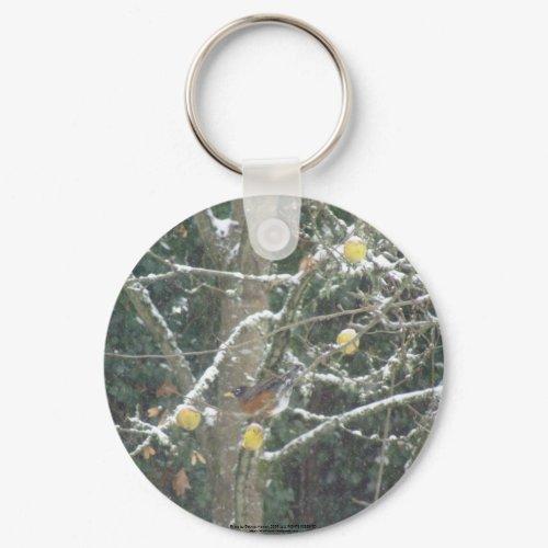 bird in a winter tree keychain