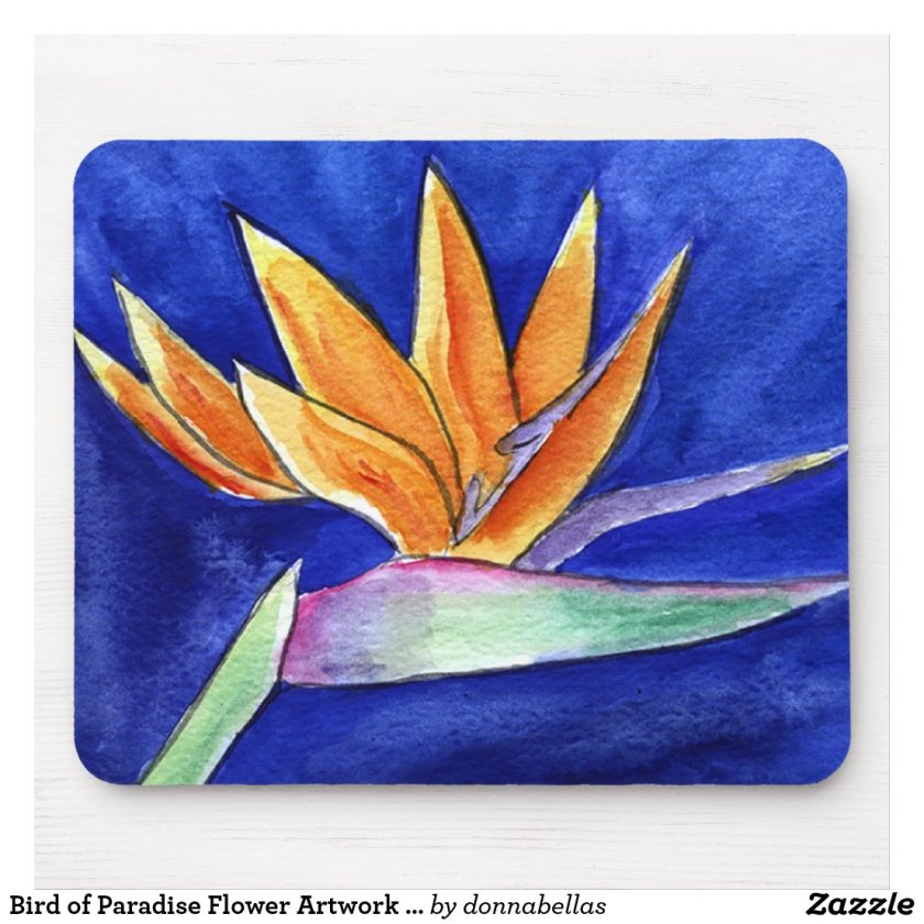 Bird of Paradise Flower Artwork Painting Mousepad