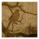 Bird on a Branch in Brown Print