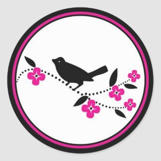 Bird on Cherry Blossom Branch sticker