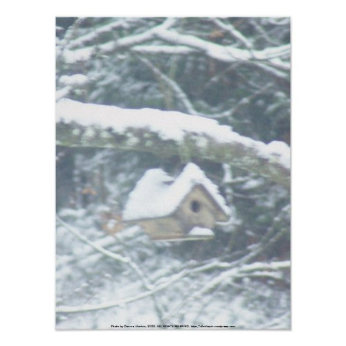 birdhouse in the snow print