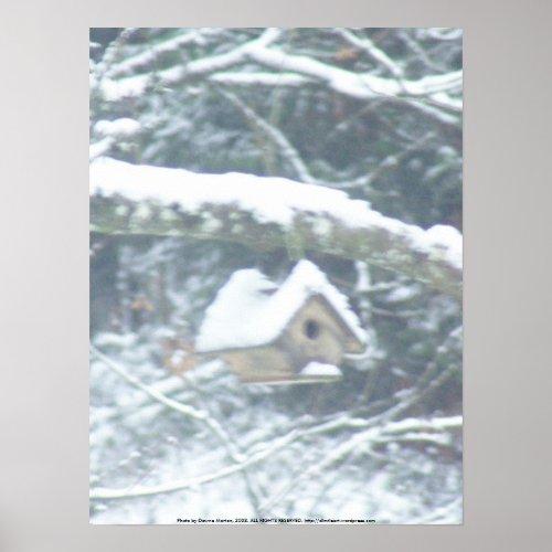 birdhouse in the snow print