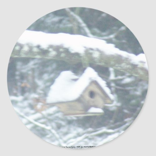 birdhouse in the snow sticker