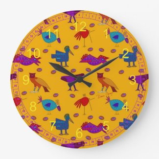 Birds - Abstract Purple Hawks & Blue Chickens Clocks