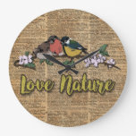 Birds Love Nature Vintage Book Page Decorative Art Large Clock