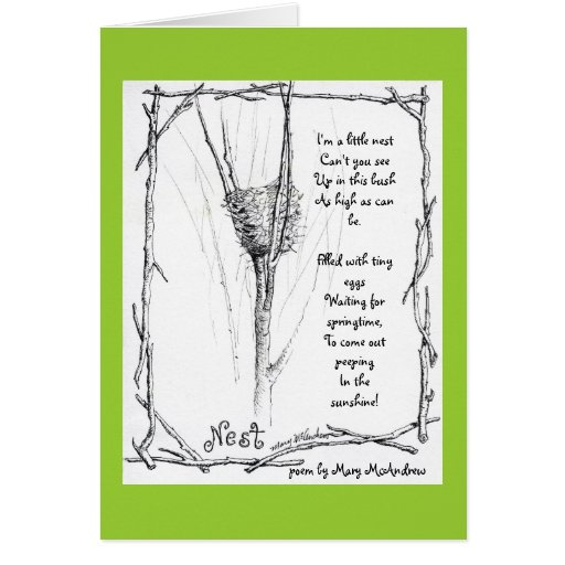 Birds Nest In Winter Sketch In Ink With Poem Card Zazzle