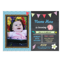 Birthday Aloha Sea Dolphin Star Photo Party Invite