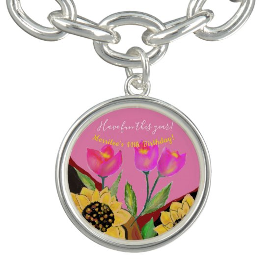 Birthday Bright Pink Background Sunflower & Tulip Bracelet