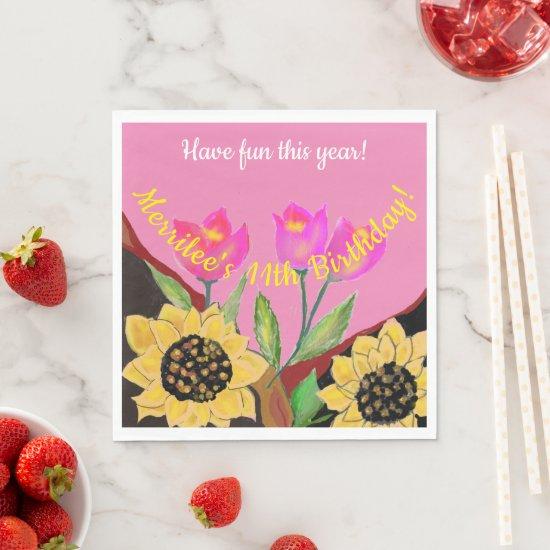 Birthday Bright Pink Background Sunflower & Tulip Napkins
