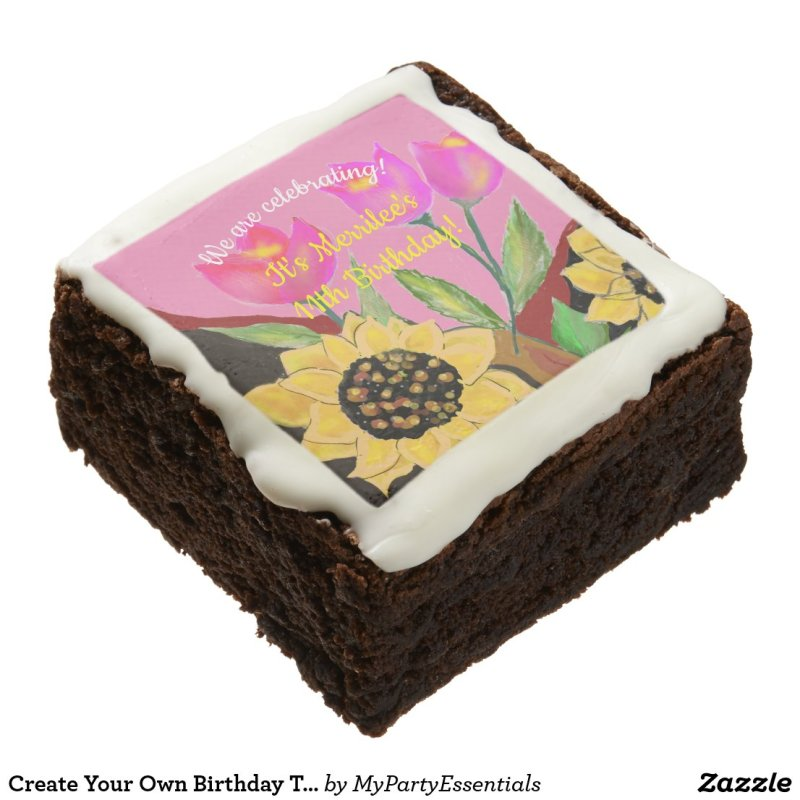 Birthday Bright Pink Paper Plate Sunflower & Tulip Brownie