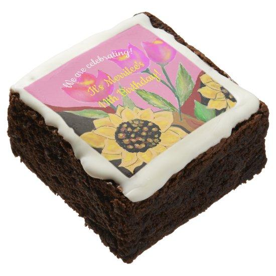 Birthday Bright Pink Paper Plate Sunflower & Tulip Brownie