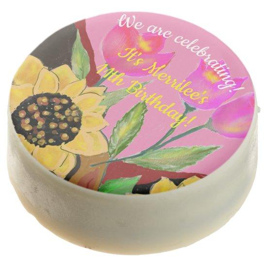 Birthday Bright Pink Paper Plate Sunflower & Tulip Chocolate Covered Oreo