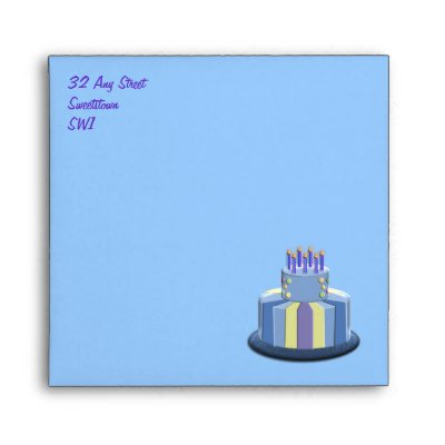 Birthday Cake & Candles (Blue) Envelopes by Angelas_Designs