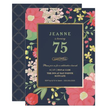 Birthday Invitation - Gold, Elegant Floral