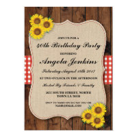 Birthday Party 40th Sunflower Wood Burlap Invite