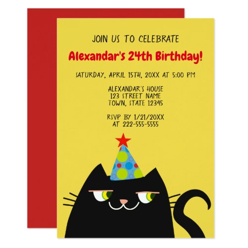 Birthday Party Celebration Black Cat Cool Funny Invitation