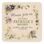 ❤️ Vintage Floral Purple Pansy Birthday Party Invitation