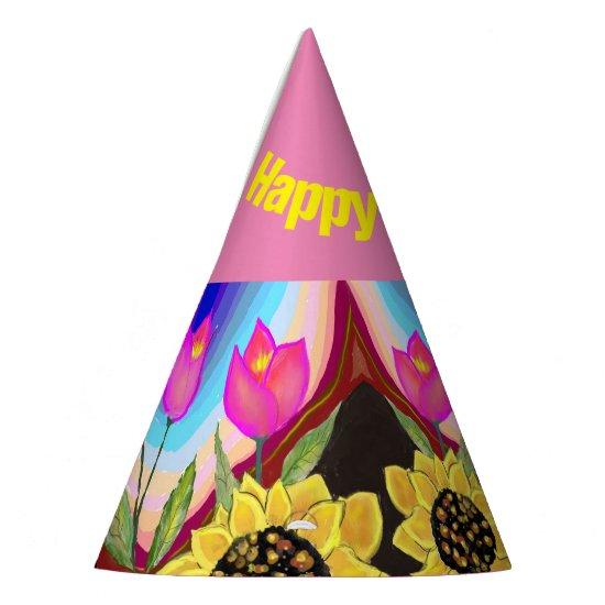 Birthday Party Hat Bright Pink Sunflower & Tulip