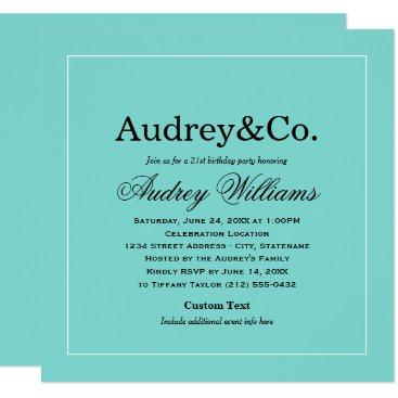 Birthday Party Invitation | Aqua Blue