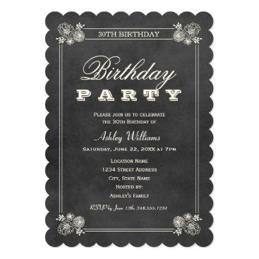 Birthday Party Invitations | Black Chalkboard