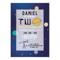 Birthday Party Invite Space Galaxy Planets Two 2