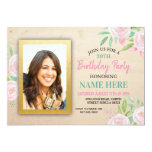 Birthday Party Photo Pink Floral Flowers Invite