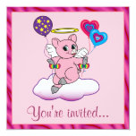 ❤️ Sweet Pig Angel With Balloons Birthday Party Invitation