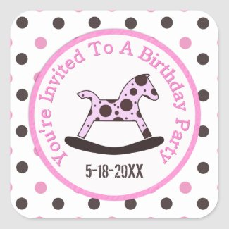 Birthday Party: Rocking Horse Stickers zazzle_sticker