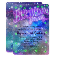 Birthday Party Sleepover Slumber Space Galaxy Card