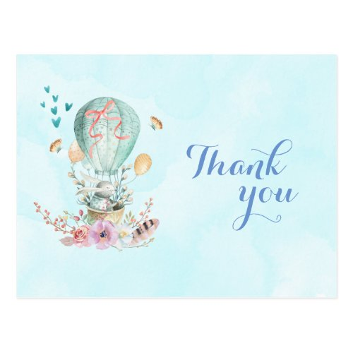 Birthday Thank You Bunny Riding in a Balloon Postcard