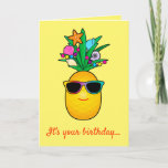 ❤️ Birthday!: Tropical Pineapple Cartoon with Shades Card