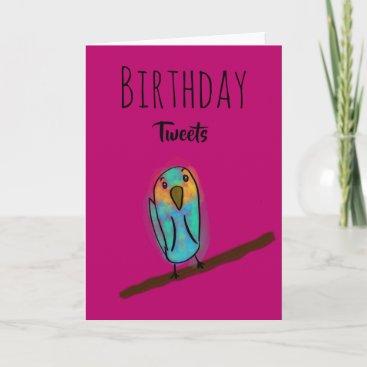 Birthday Tweets Pink Budgie Birthday Card