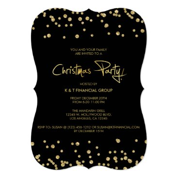 Black and Gold Confetti Company Christmas Party Invitation