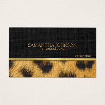 Black and Gold with Leopard Fur Business Card
