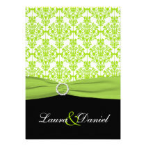 Black and Green Damask Wedding Invitation