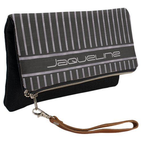 Black And Lavender Stripes Clutch