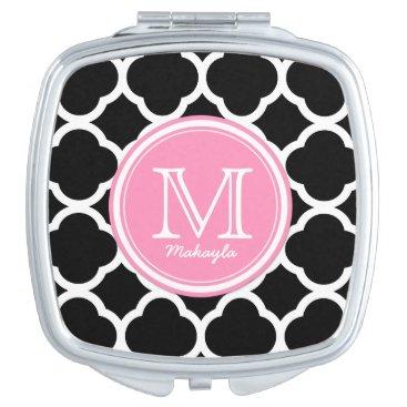 Black and Pink quatrefoil with Monogram Vanity Mirror
