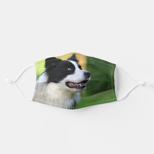 Black and White Border Collie Dog Adult Cloth Face Mask