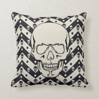 Cool Sugar Skull Black And White Throw Pillow