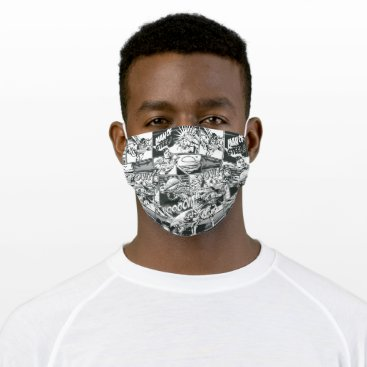 Black and White Comic Pattern Adult Cloth Face Mask
