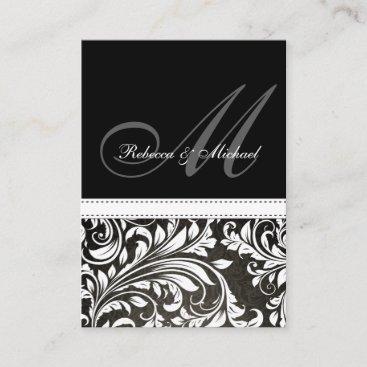 Black and White Damask Monogram RSVP Cards