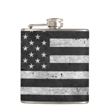 Black and White Distressed American flag Flask
