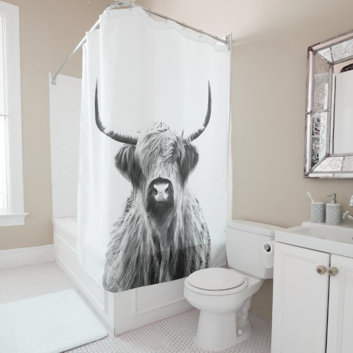 black and white highland cow shower curtain zazzle com