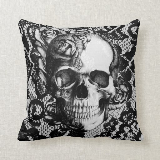 Black and white lace and roses skull throw pillow