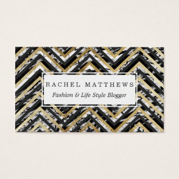 Black and White Marble and Gold Chevron Zigzag Business Card