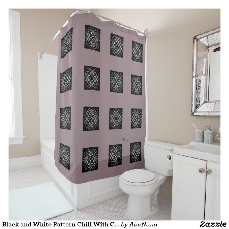 Black and White Pattern Chill With Cushionarium Shower Curtain